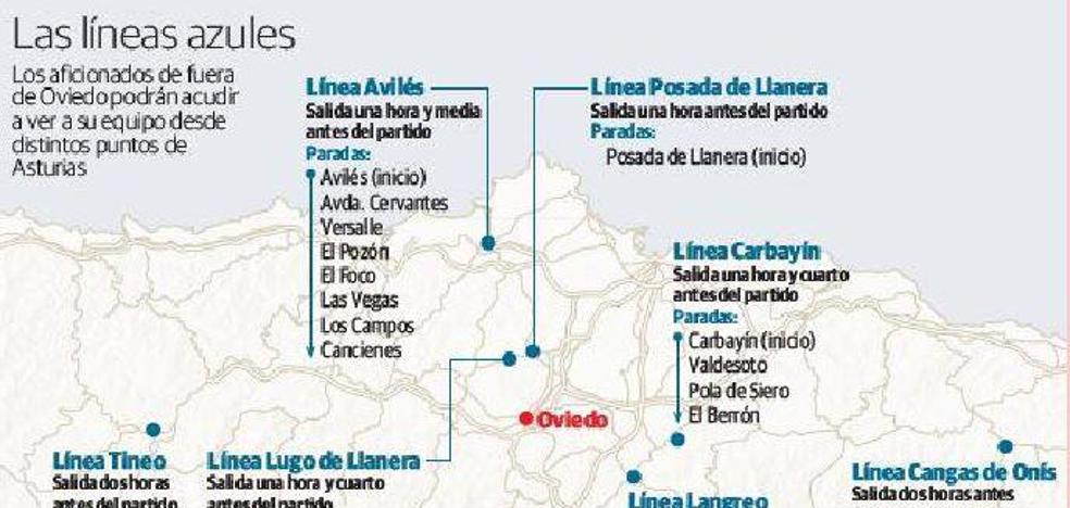 El Oviedo tendrá líneas de autobuses para sus hinchas