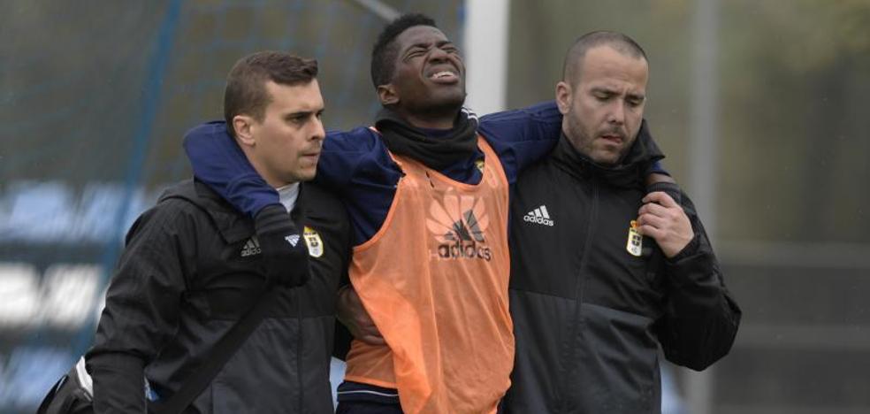 Real Oviedo | Olmes García se retira lesionado del entrenamiento