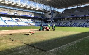 Real Oviedo | Obras de mejora en el césped del Tartiere