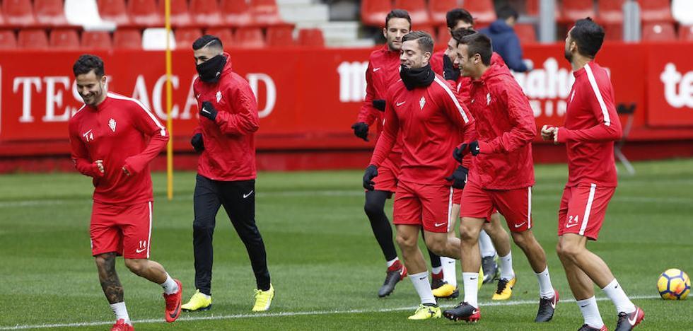 El Sporting prepara en El Molinón el partido ante el Zaragoza