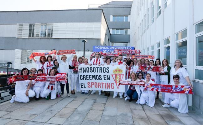 El Hospital de Cabueñes se viste también de rojiblanco por el Sporting
