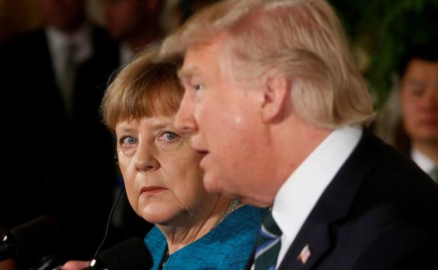 Angela Merkel y Donald Trump.