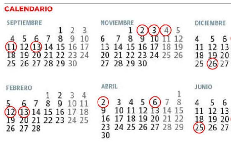 Calendario del curso escolar 2017 / 2018 en Asturias