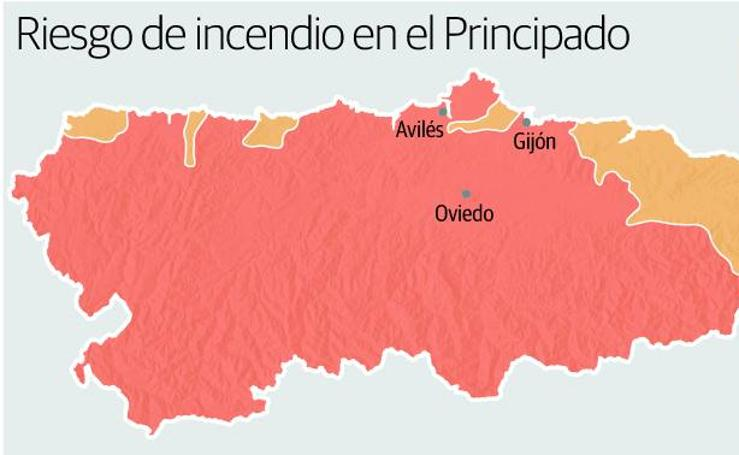 Riesgo de incendio en Asturias
