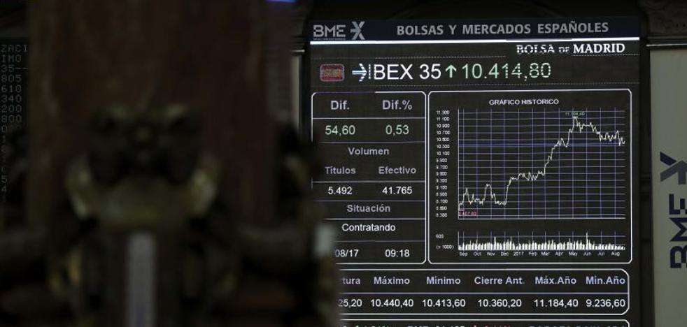 El Ibex, vulnerable a los riesgos de EE UU, vuelve a los 10.300 puntos