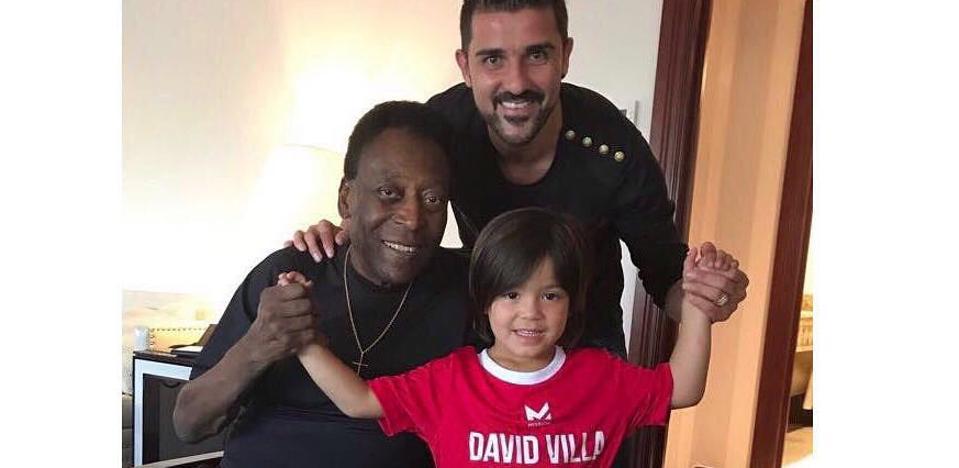 Encuentro entre Pelé y David Villa en Nueva York