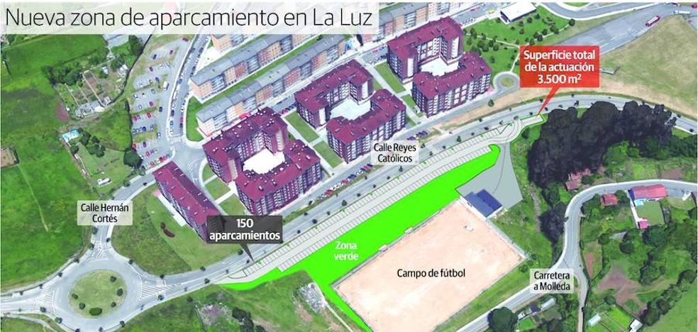 El nuevo aparcamiento de La Luz, en Avilés, contará con 150 plazas junto al campo de fútbol