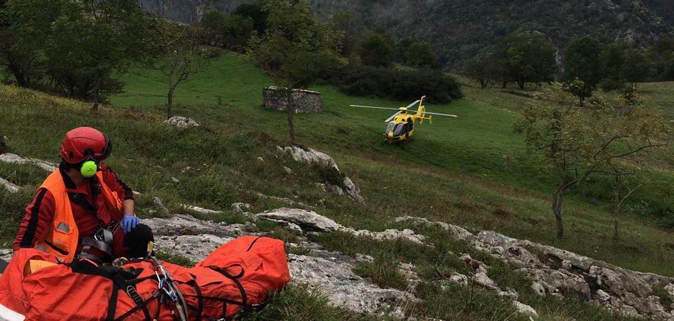 Rescatan a un pastor de 79 años herido en una zona de difícil acceso de Cabrales