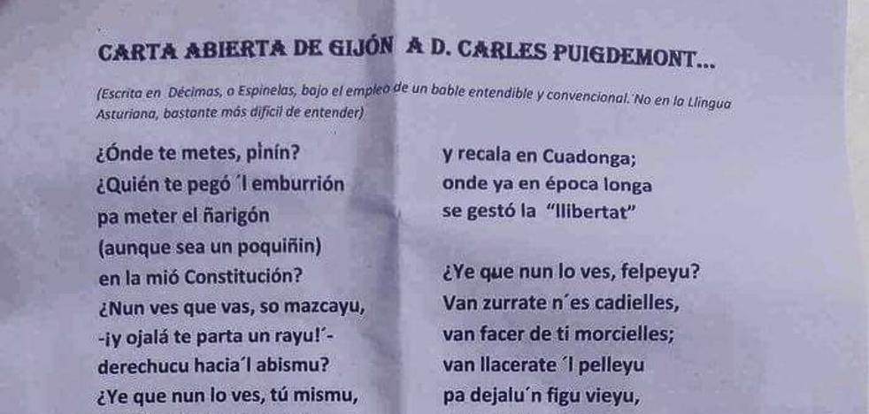 La carta de un asturiano a Puigdemont: «Olvídate del asuntu»