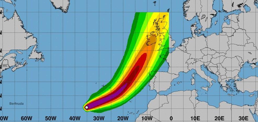 'Ophelia', la tormenta tropical que podría llegar el lunes a Asturias