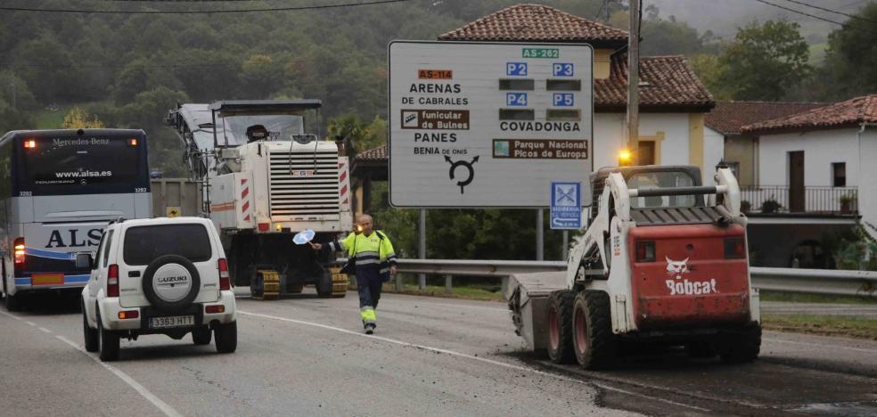 Obras en la AS-114 entre Onís y Cangas