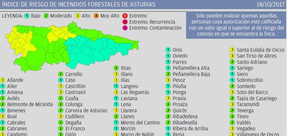 El índice de riesgo de incendios forestales en Asturias se reduce