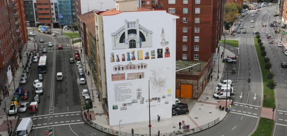 El mural de Los Oficios, «una selección de cosas que incitan a descubrir Avilés»