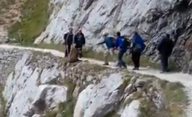 Polémica por las imágenes de un grupo de personas 'despeñando a un jabalí' en la Ruta del Cares