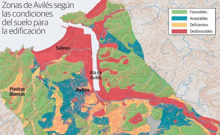 Zonas de Avilés según las condiciones del suelo para la edificación