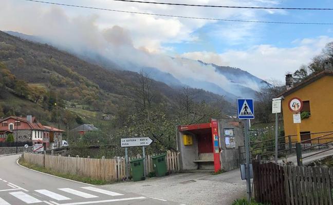 Los bomberos tratan de extinguir un incendio en Aller