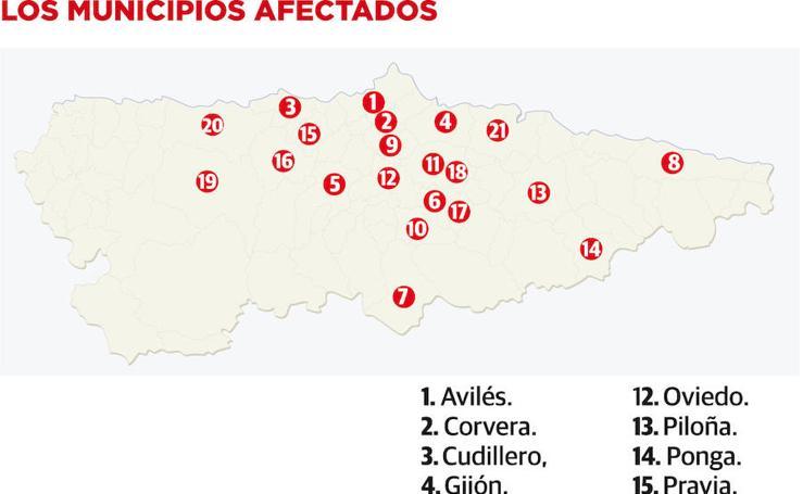 Los municipios afectados