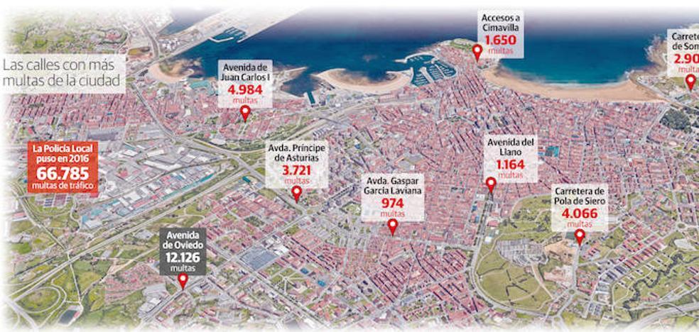 La mitad de las multas de Gijón, en siete calles