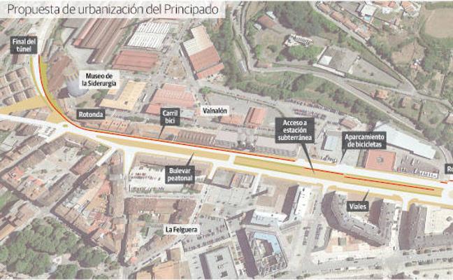 El alcalde de Langreo reclama una sola calzada en el bulevar del soterramiento
