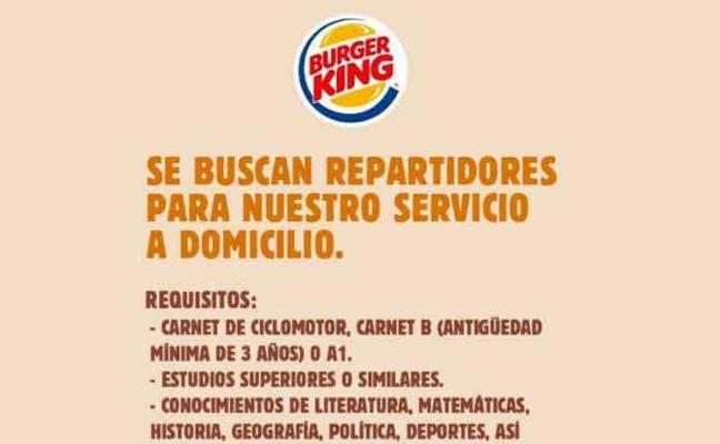La criticada oferta de empleo de Burger King es una campaña publicitaria