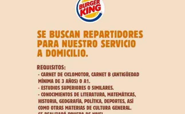 Twitter | Los sorprendentes requisitos de Burger King para contratar repartidores
