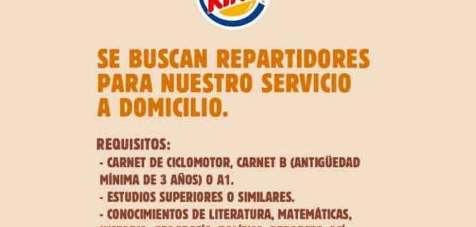 Twitter | Los sorprendentes requisitos de Burger King para contratar repartidores