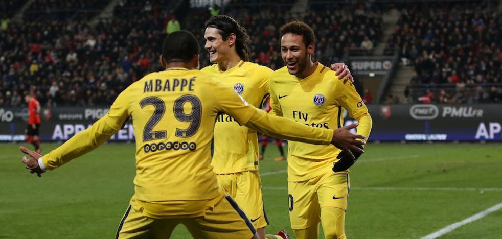 El trío Mbappé-Cavani-Neymar se luce ante el Rennes