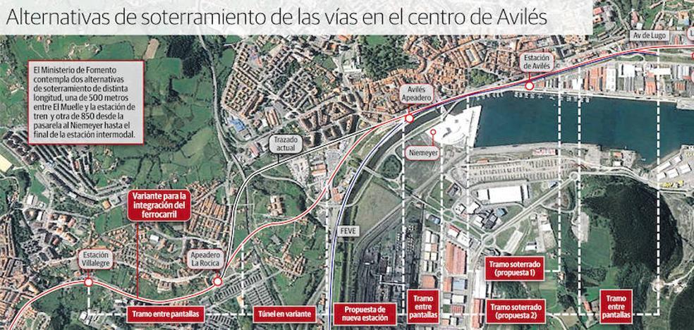 Fomento estudiará dos alternativas para soterrar 850 o 500 metros de las vías del tren