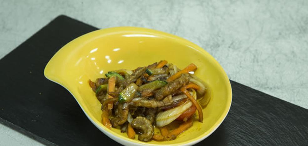 Ternera, vegetales y soja