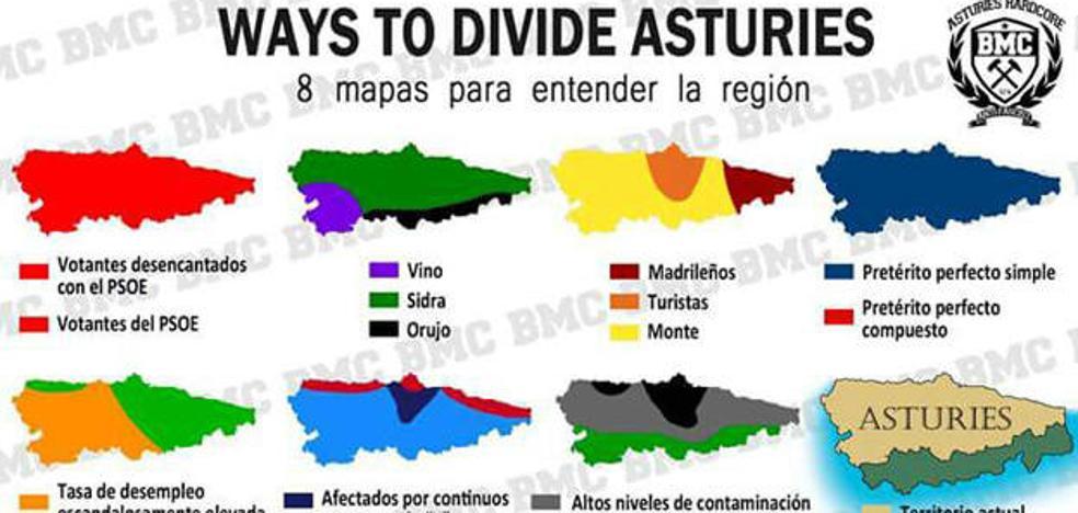 Ocho mapas para entender Asturias, la imagen que triunfa en las redes sociales