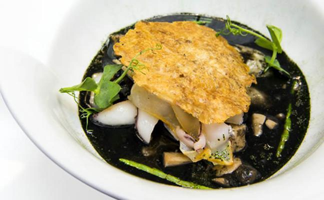 Fabes 'verdes', texturas de calamar, manitas tostadas y salicornia