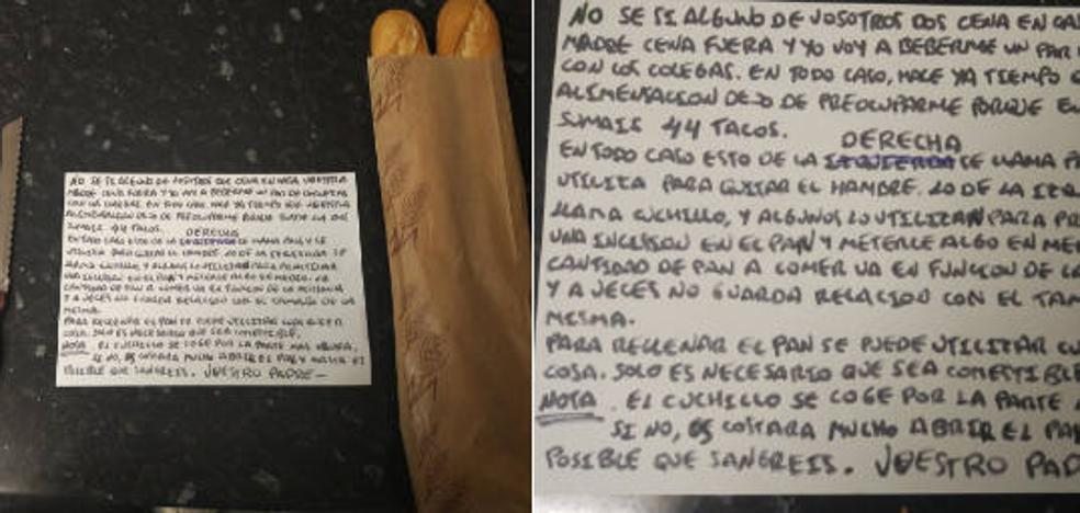 La épica nota que un padre escribió a sus hijos con instrucciones para hacerse un bocadillo