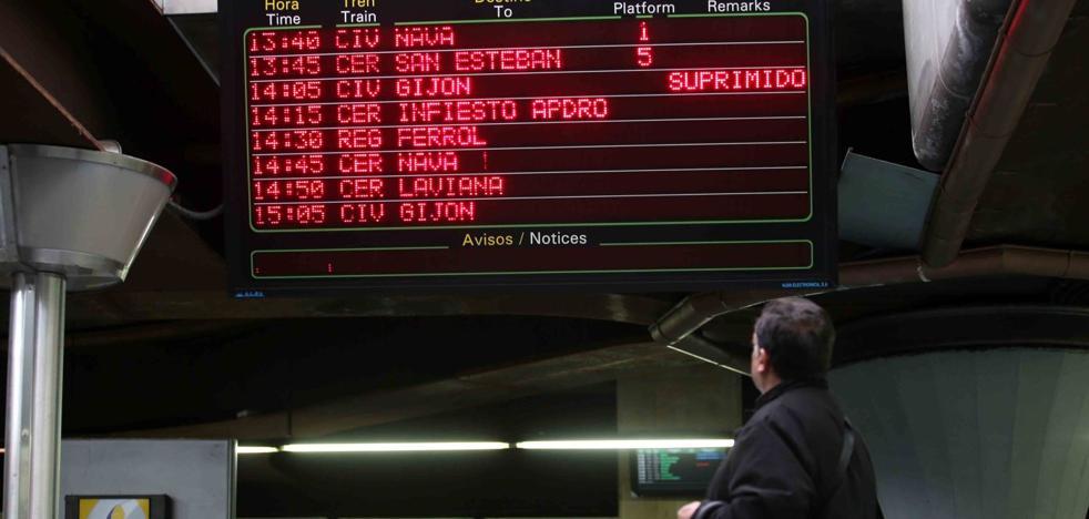 La falta de repuestos obliga a cancelar cerca de cien trenes de Feve esta semana