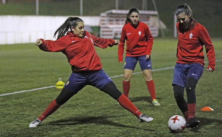 Entrenamiento del Sporting Femenino en Mareo (22/02/2018)