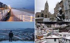 Las nevadas a nivel del mar dan paso a la alerta por viento y olas en Asturias