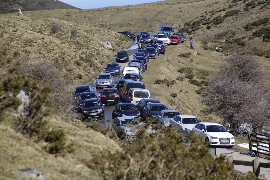 Los Lagos de Covadonga, colapsados de coches