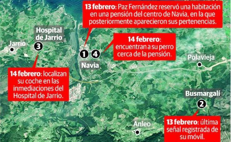 Puntos clave de la desaparición de Paz Fernández