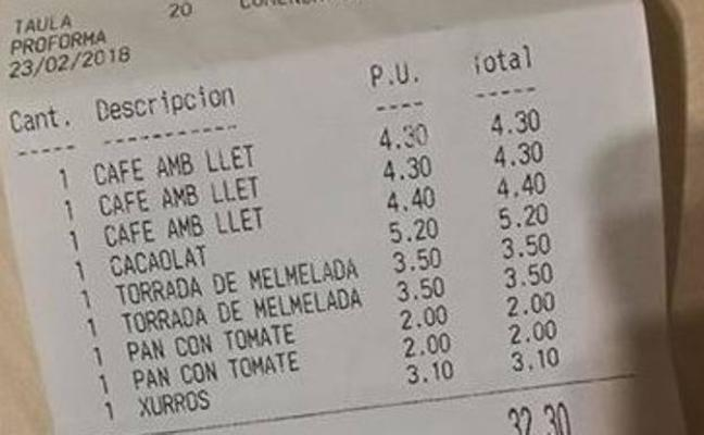 El 'sablazo' de un bar en Barcelona que indigna en Twitter