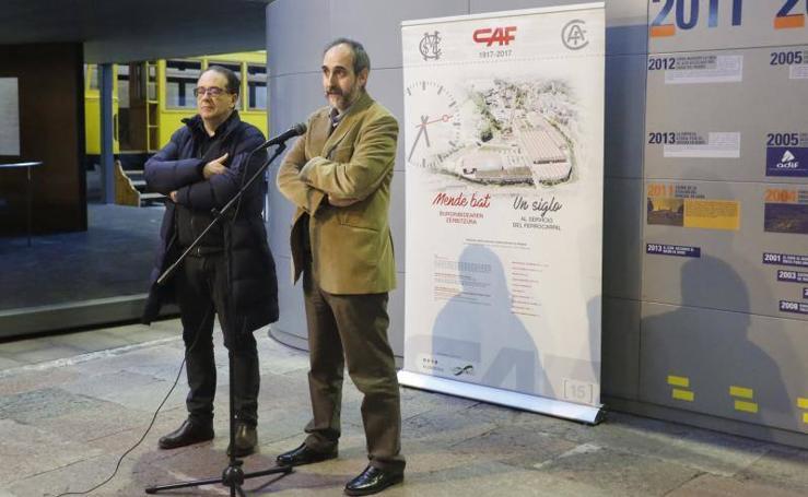 La inauguración de la exposición 'CAF, un siglo al servicio del ferrocarril'