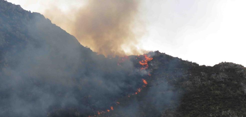 Incendio forestal en la sierra de Santianes