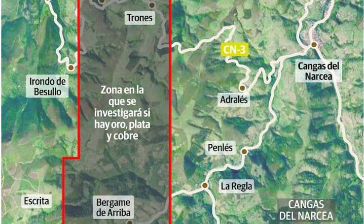 Delimitación de la zona de actuación de Orovalle