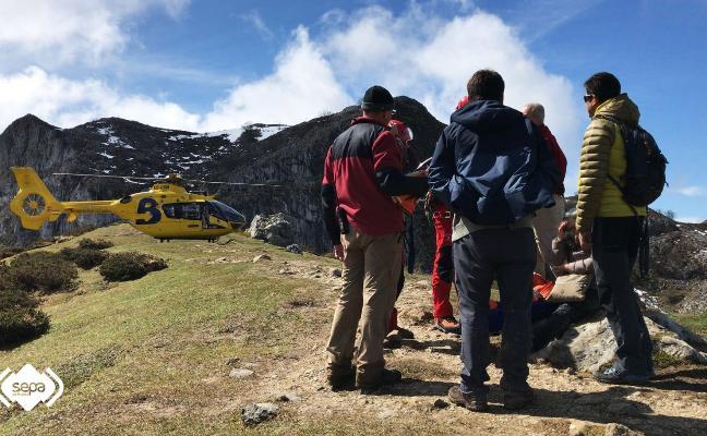 Evacúan a una mujer que se hizo daño en un tobillo en los Lagos de Covadonga