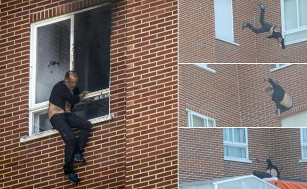 Imagen del presunto asesino lanzándose desde el octavo piso. /JESÚS ANDRADE