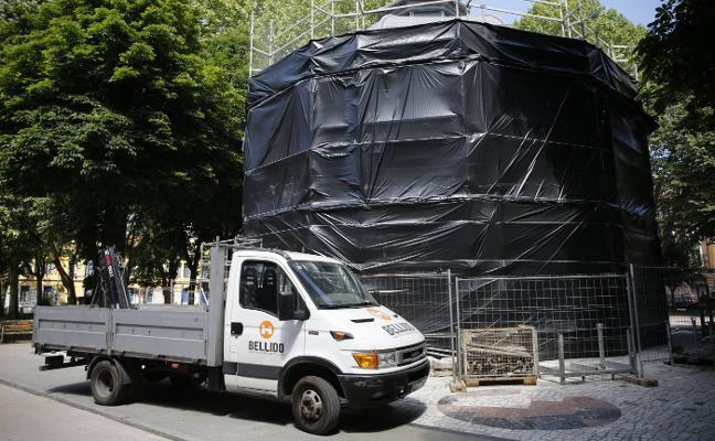 Empiezan las obras de rehabilitación del quiosco de la música de La Felguera