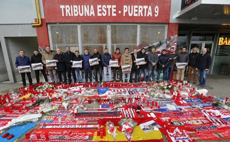 Emotivo adiós a Quini de los veteranos del Sporting