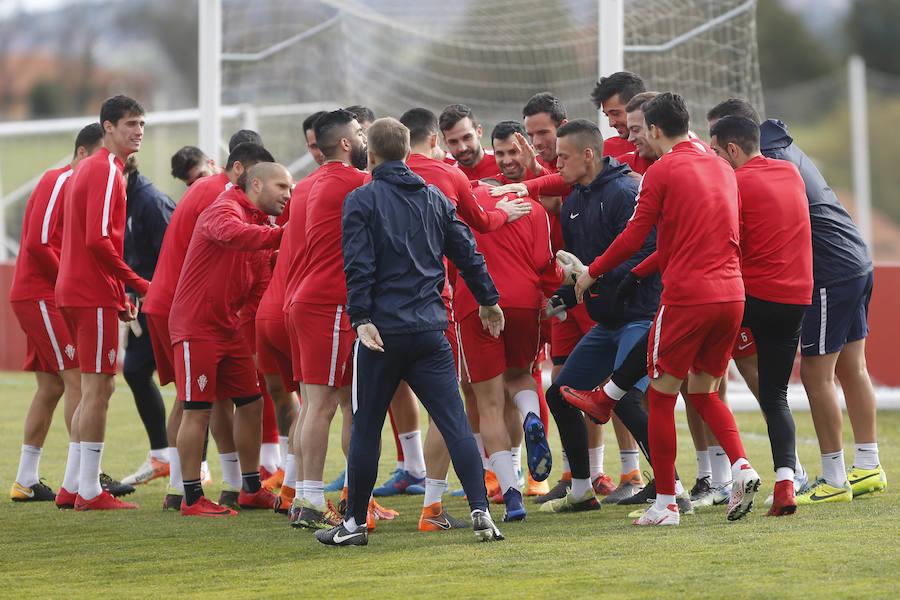 Entrenamiento del Sporting del 30 de marzo de 2018