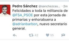 Pedro Sánchez, de los primeros en felicitar a Barbón tras los resultados de las primarias