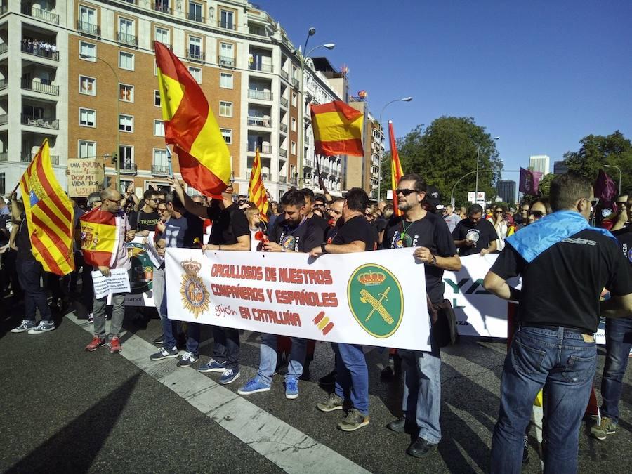 Manifestación de policías y guradias civiles en Madrid para pedir equiparación salarial con policías autonómicas