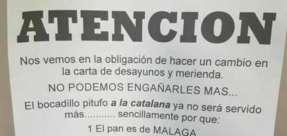 Un bar malagueño cambia el «pitufo a la catalana» por el «andaluz»