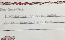 La desgarradora carta de un niño de 7 años a Papá Noel